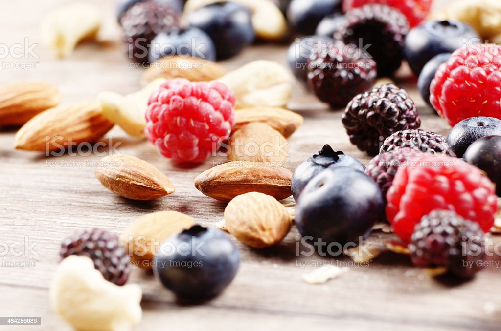 Nuts and berries stock photo