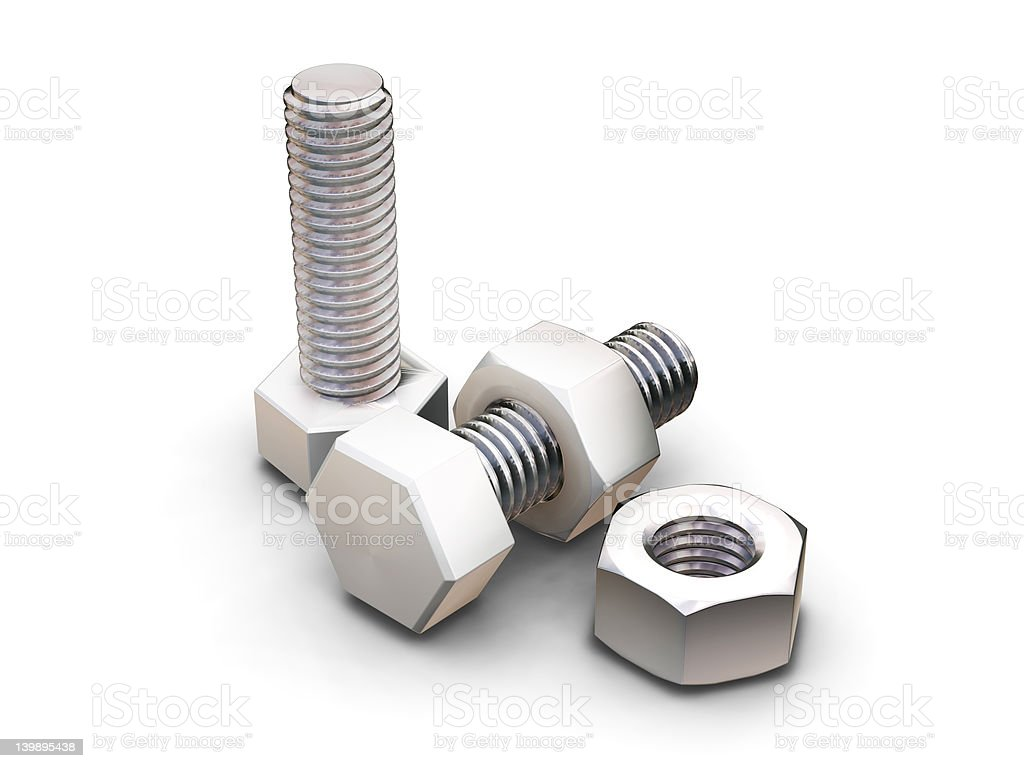 Nuts and bolts - 3D render royalty-free stock photo