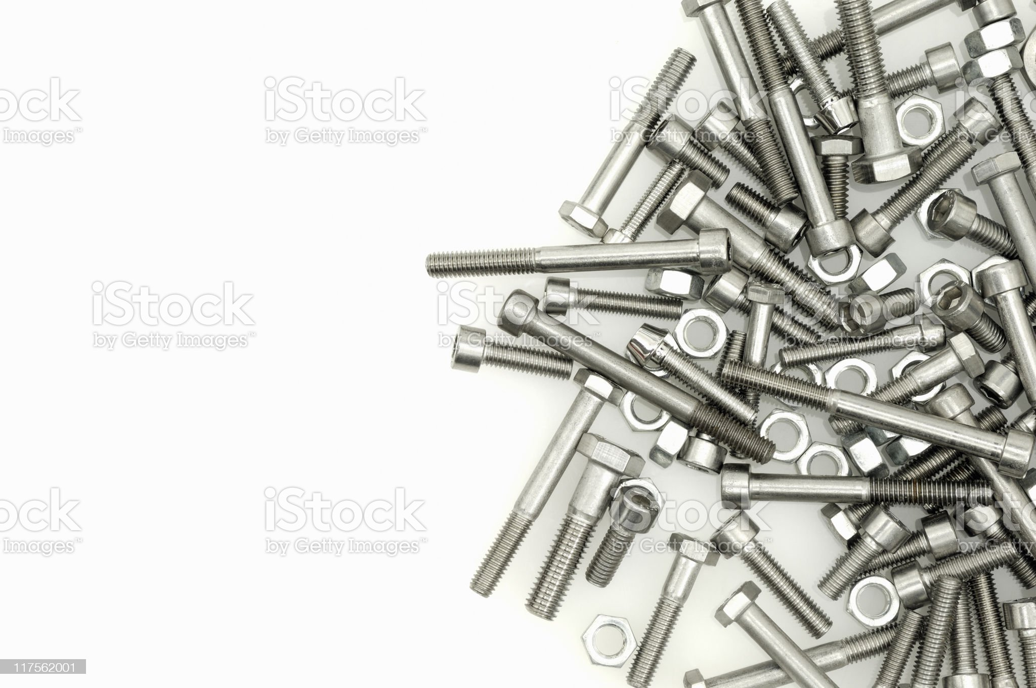 Nuts and bolts on white royalty-free stock photo