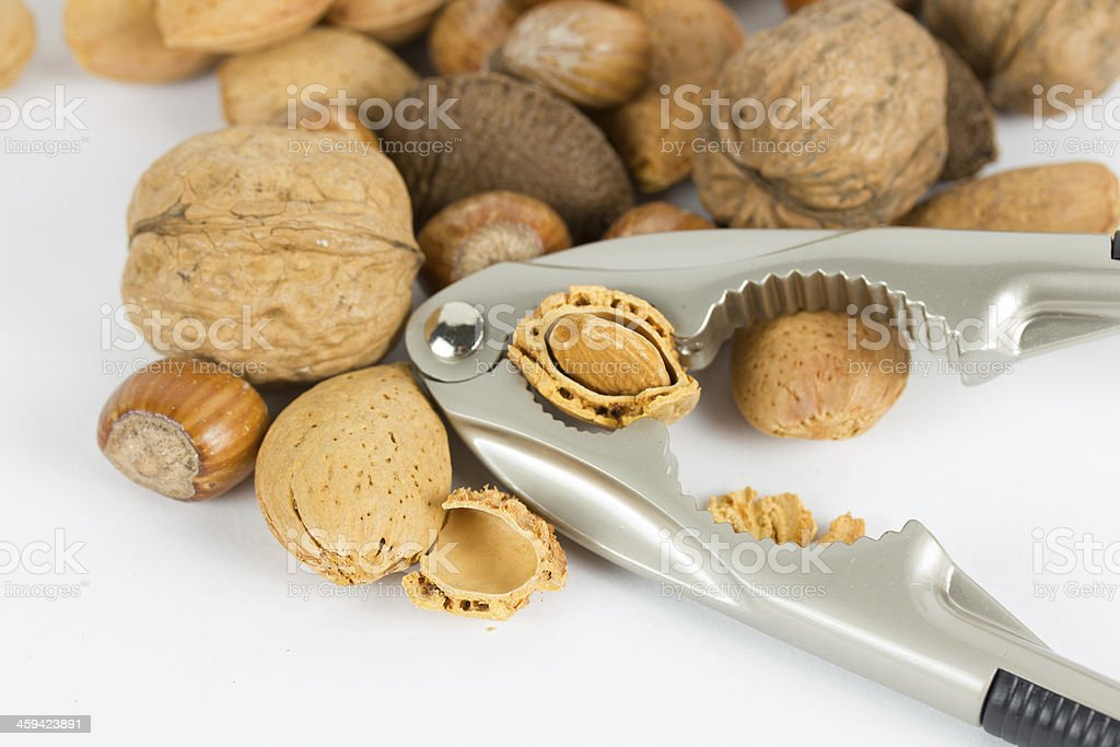 Nuts and cracker stock photo