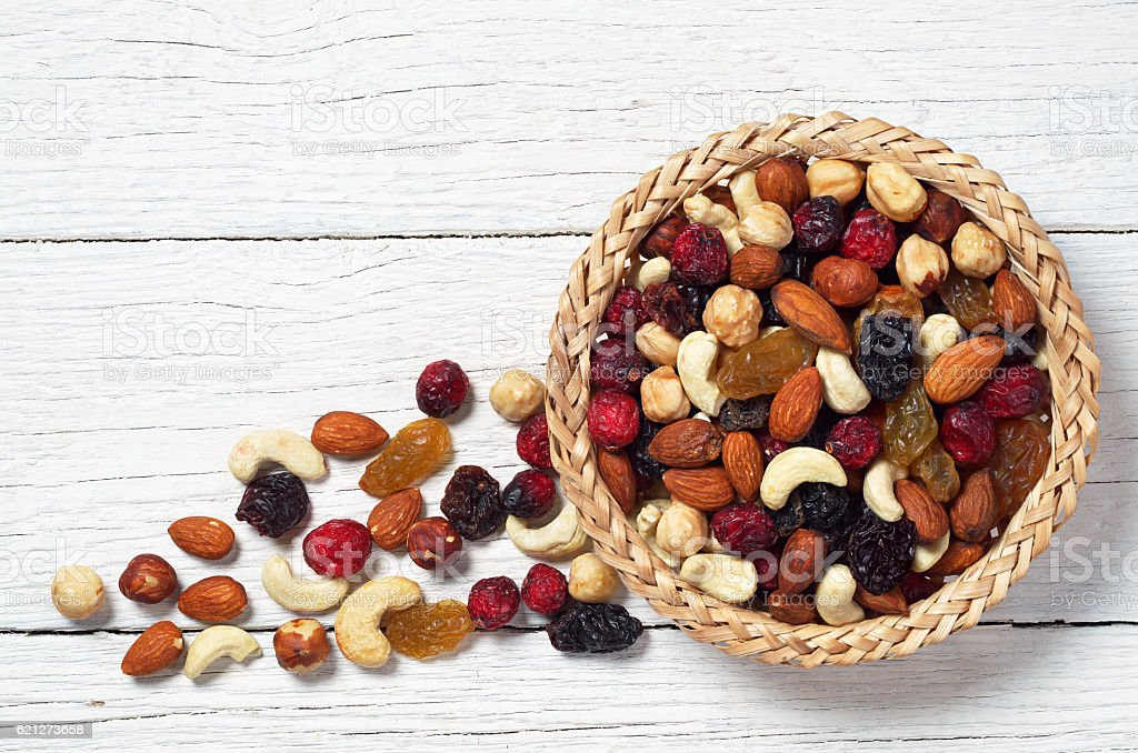 Nuts and dried fruit stock photo