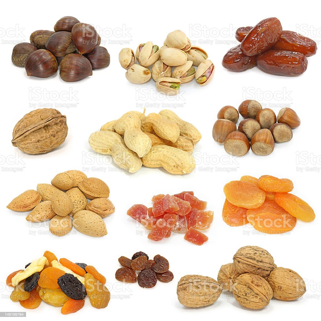 nuts and dried fruits collection royalty-free stock photo