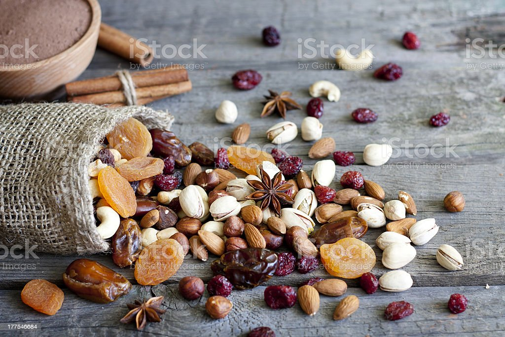 Nuts and dried fruits mixed stock photo