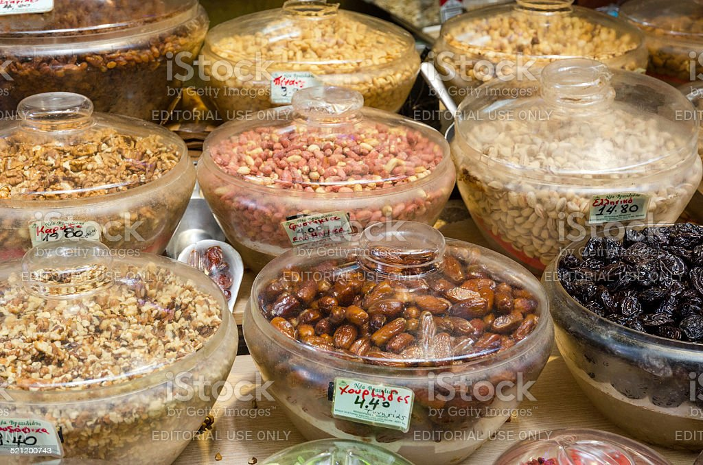 Nuts and dried fruits on the market 'Modiano' stock photo
