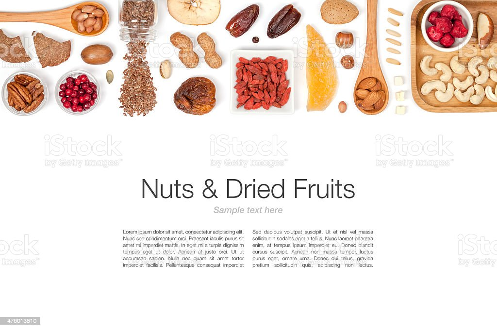 nuts and dried fruits on white background stock photo