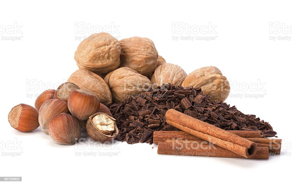 Nuts and grated chocolate royalty-free stock photo