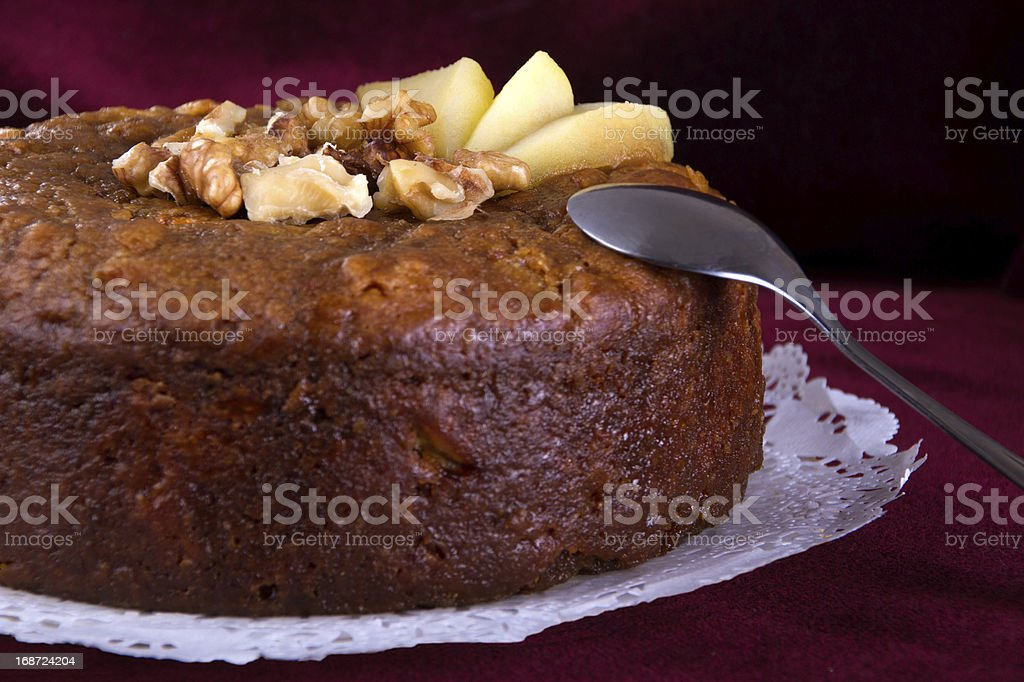Nuts  and honey cake, selective focus royalty-free stock photo