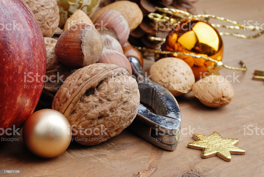 nuts and nutcracker royalty-free stock photo