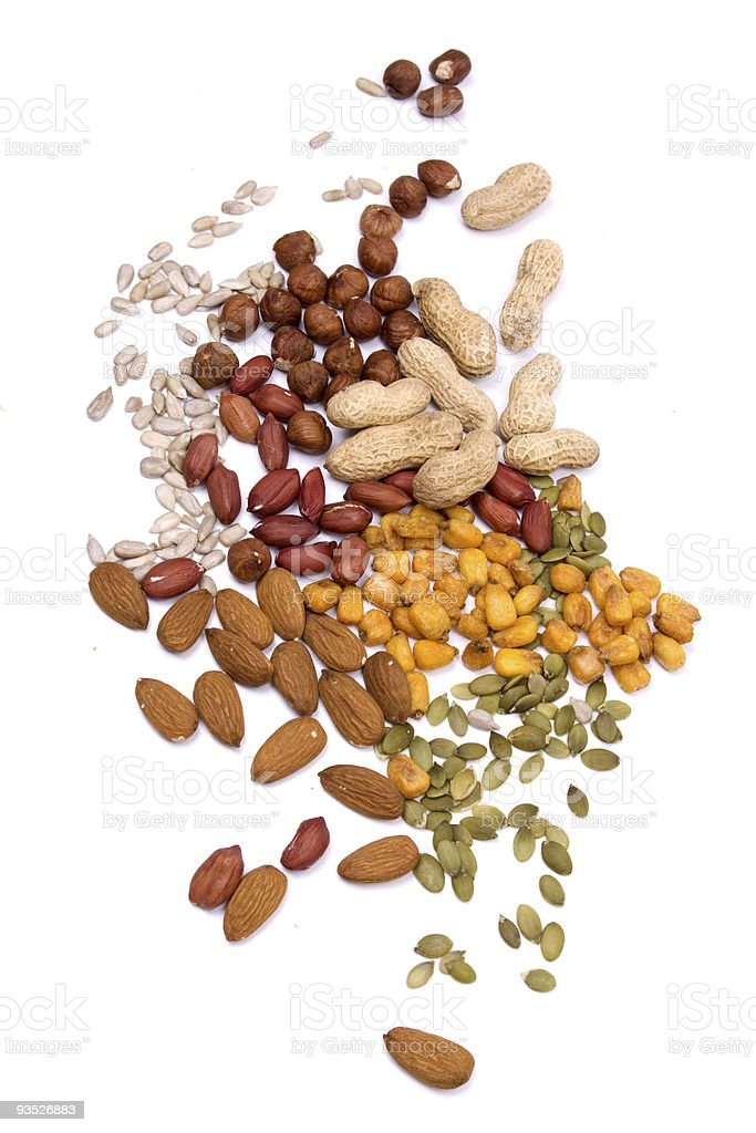 Nuts and seeds isolated on white royalty-free stock photo