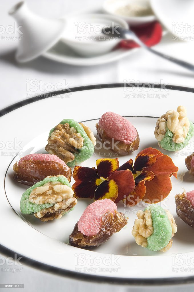 Nuts and stuffed dastiles royalty-free stock photo