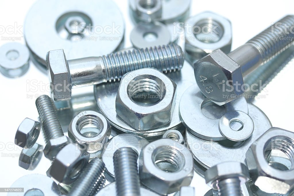 Nuts, bolts and washers royalty-free stock photo