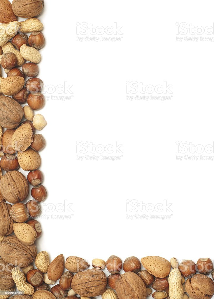 Nuts border - vertical stock photo