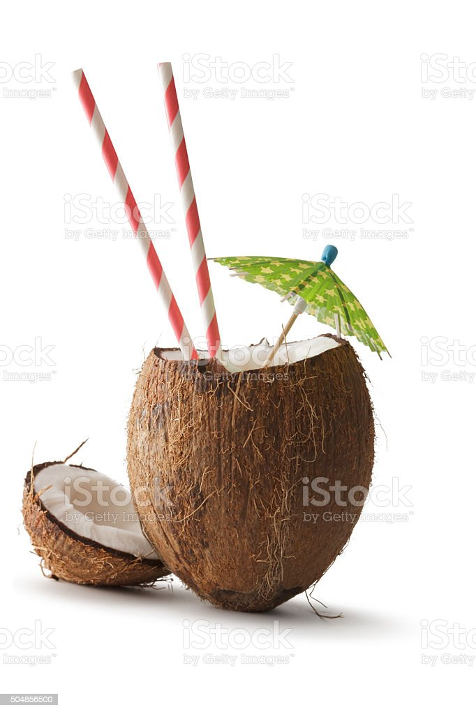 Nuts: Coconut, Umbrella and Straw stock photo