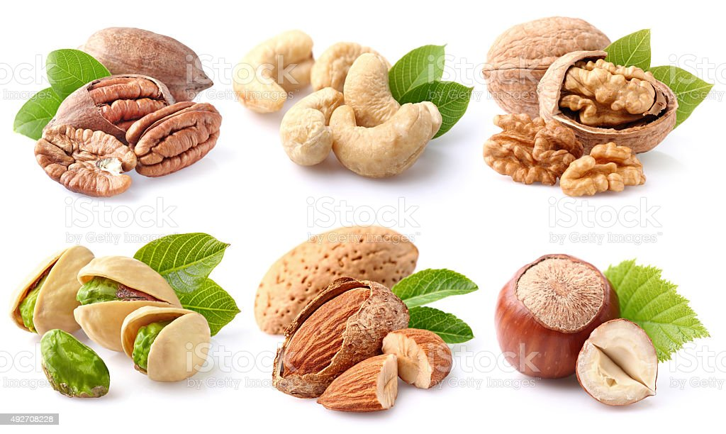 Nuts collage stock photo