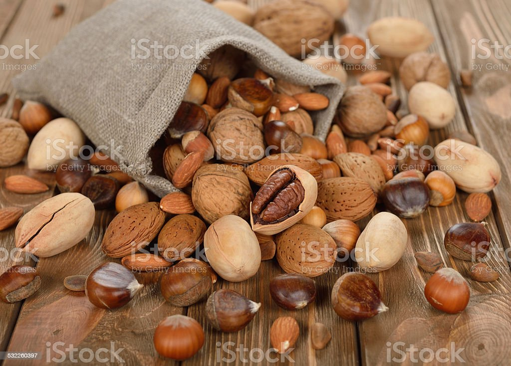 Nuts in a bag stock photo