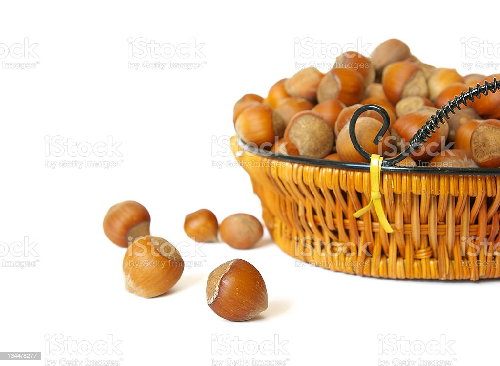 Nuts in a basket royalty-free stock photo