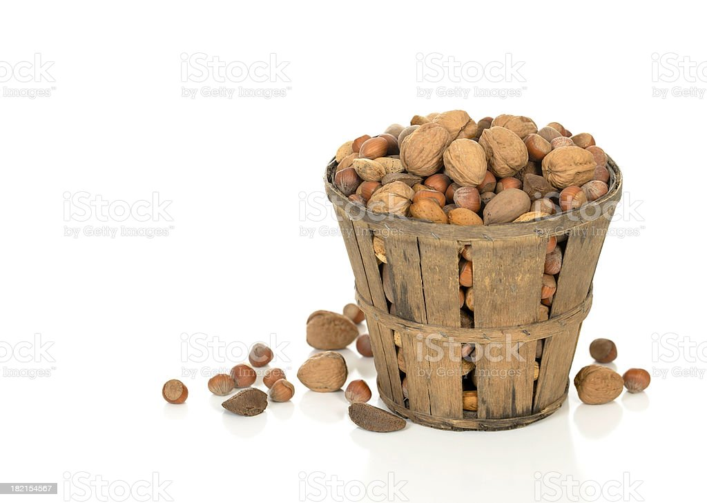 Nuts in a Rustic Basket stock photo