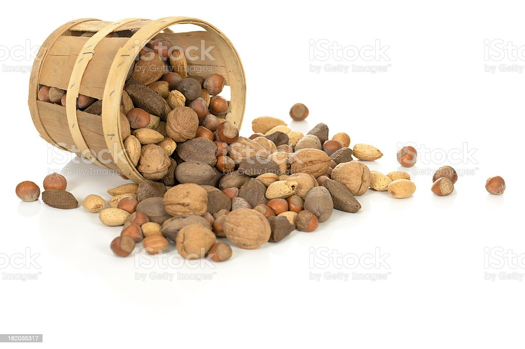 Nuts in a Tipped Basket stock photo