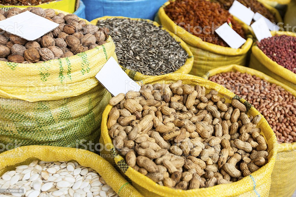 Nuts in Bags at Market Stall royalty-free stock photo