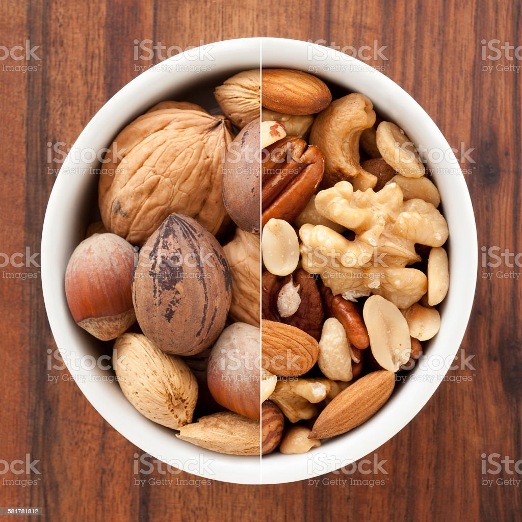 Nuts mix composition stock photo