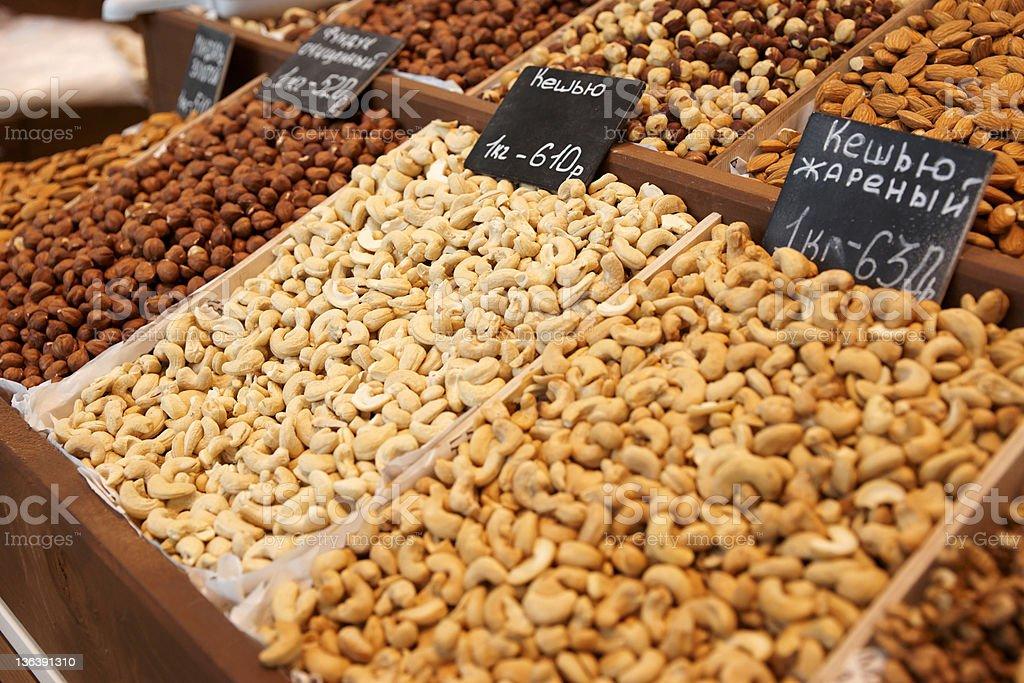 Nuts on street market royalty-free stock photo