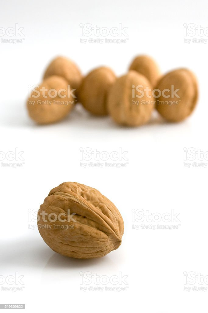 Nuts on the table stock photo