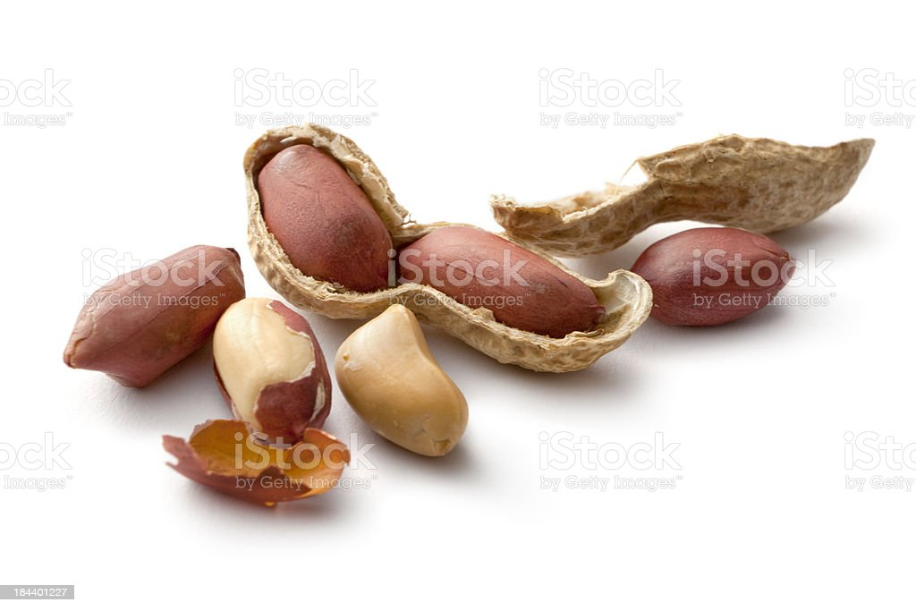 Nuts: Peanuts Isolated on White Background stock photo