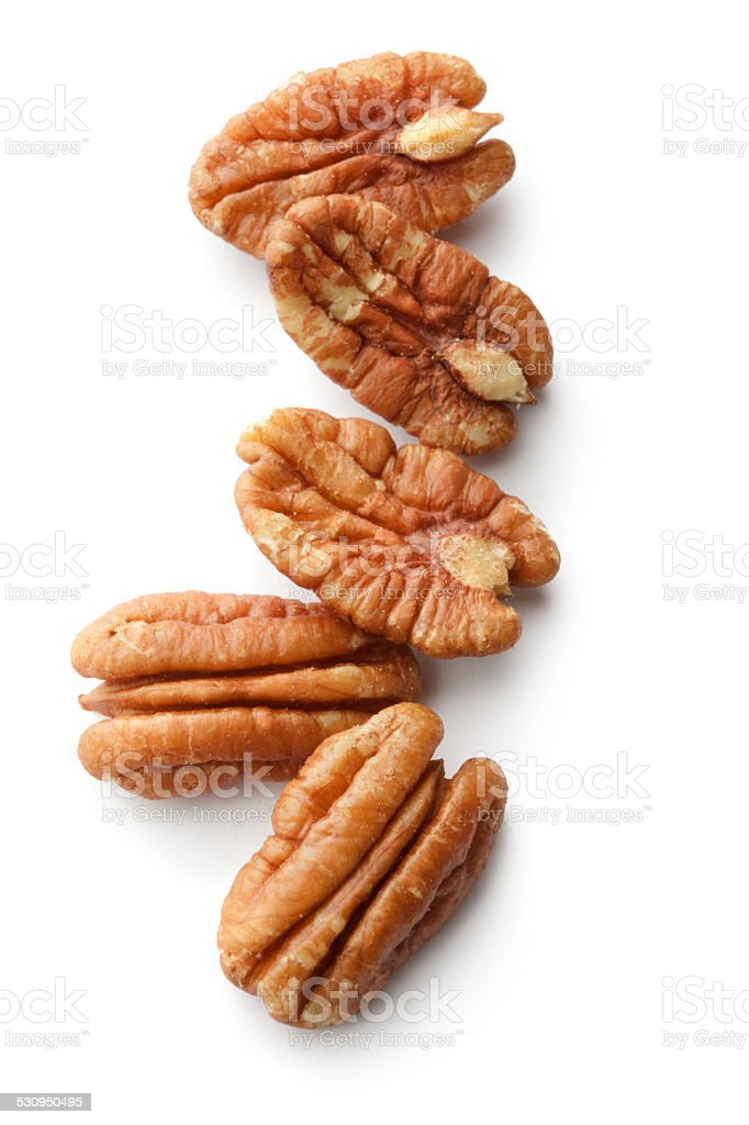 Nuts: Pecan Nuts Isolated on White Background stock photo