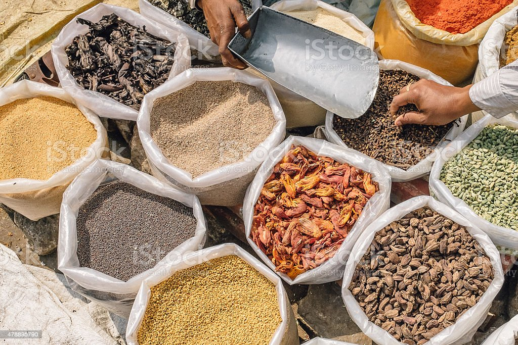 nuts, seeds and spices for sale stock photo