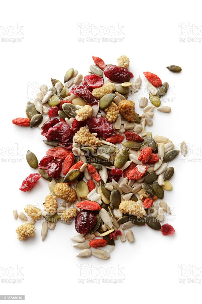 Nuts: Superfood Mix Isolated on White Background stock photo