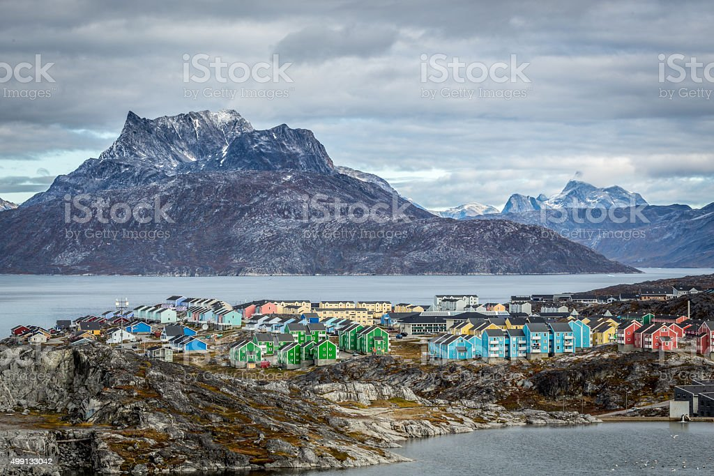 Nuuk city landscape stock photo