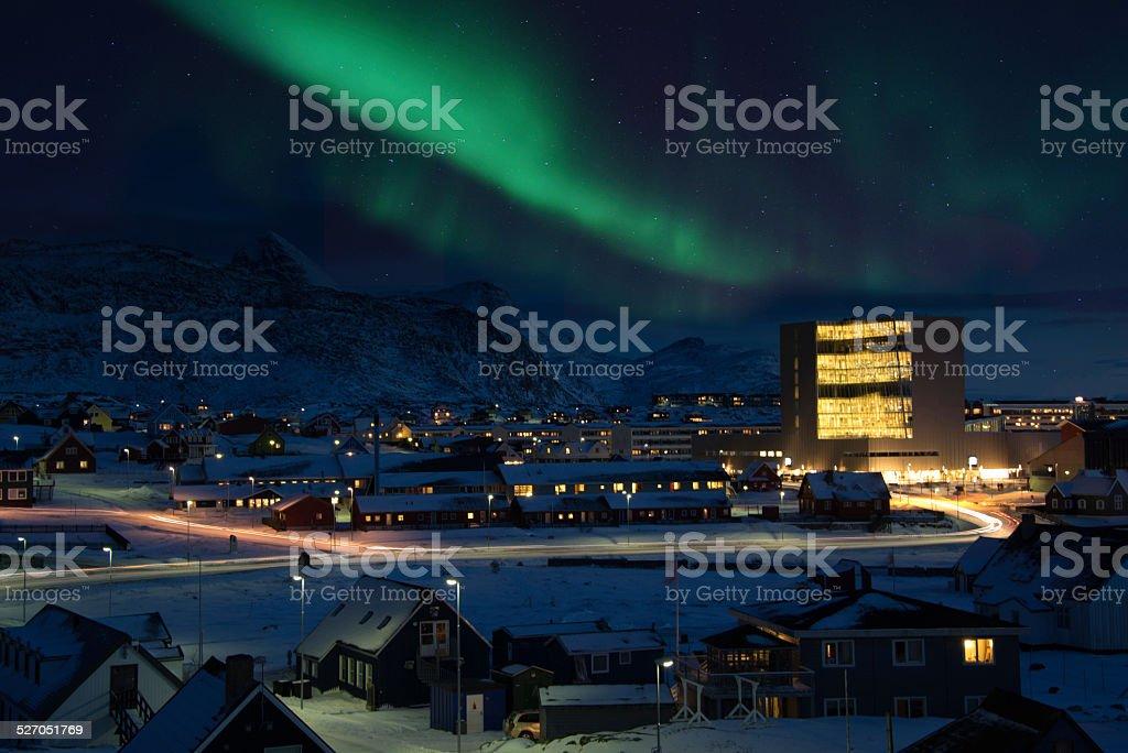 Nuuk City Northern Light stock photo