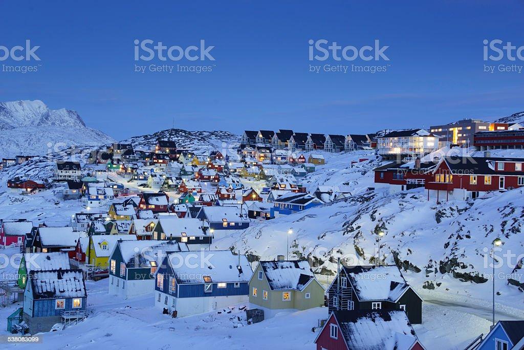 Nuuk Old Town Twilight stock photo