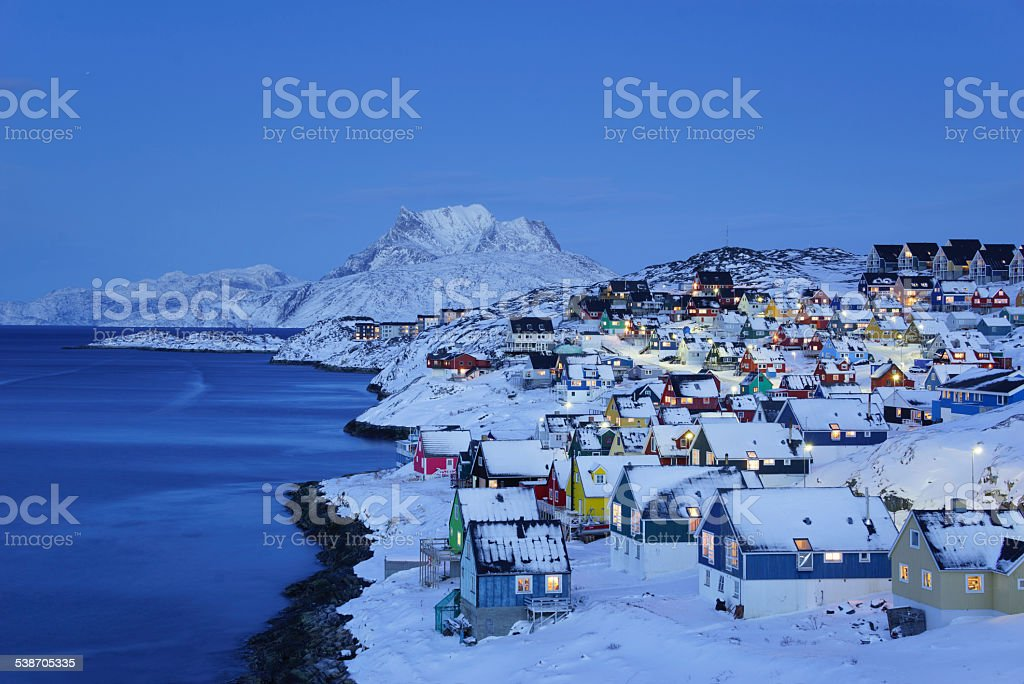 Nuuk Old Town Twilight stock photo