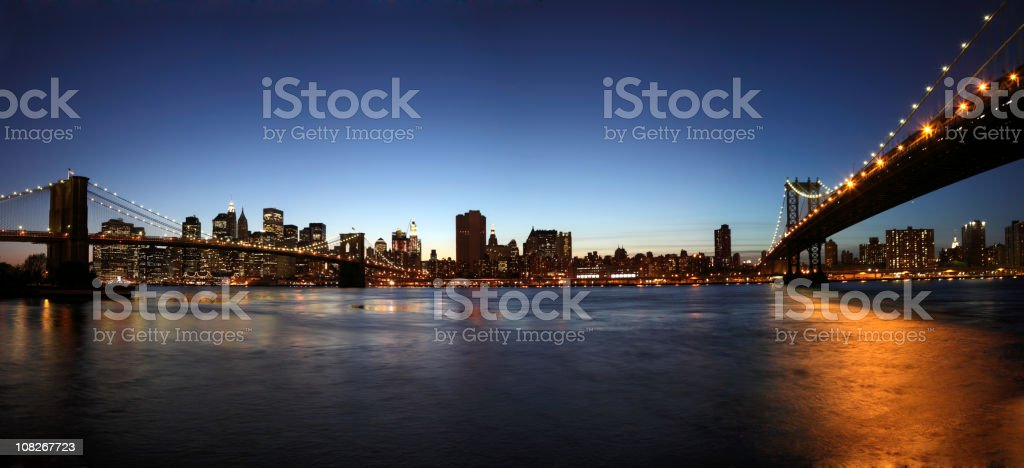 ny skyline with brooklyn - and manhatten bridge royalty-free stock photo