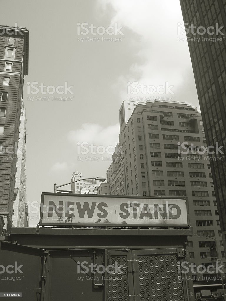 nyc news stand and buildings stock photo