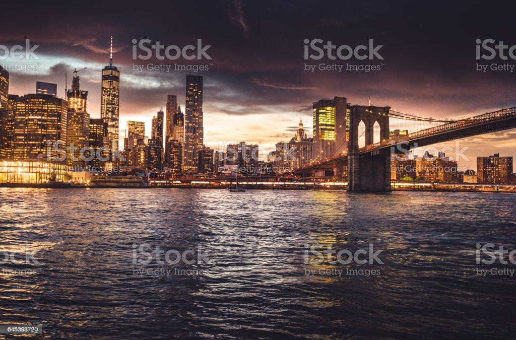 nyc skyline at dusk stock photo