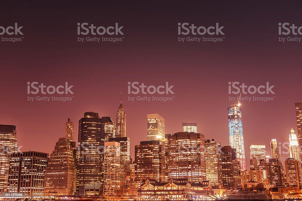Nyc skyline with world trade center illuminated royalty-free stock photo