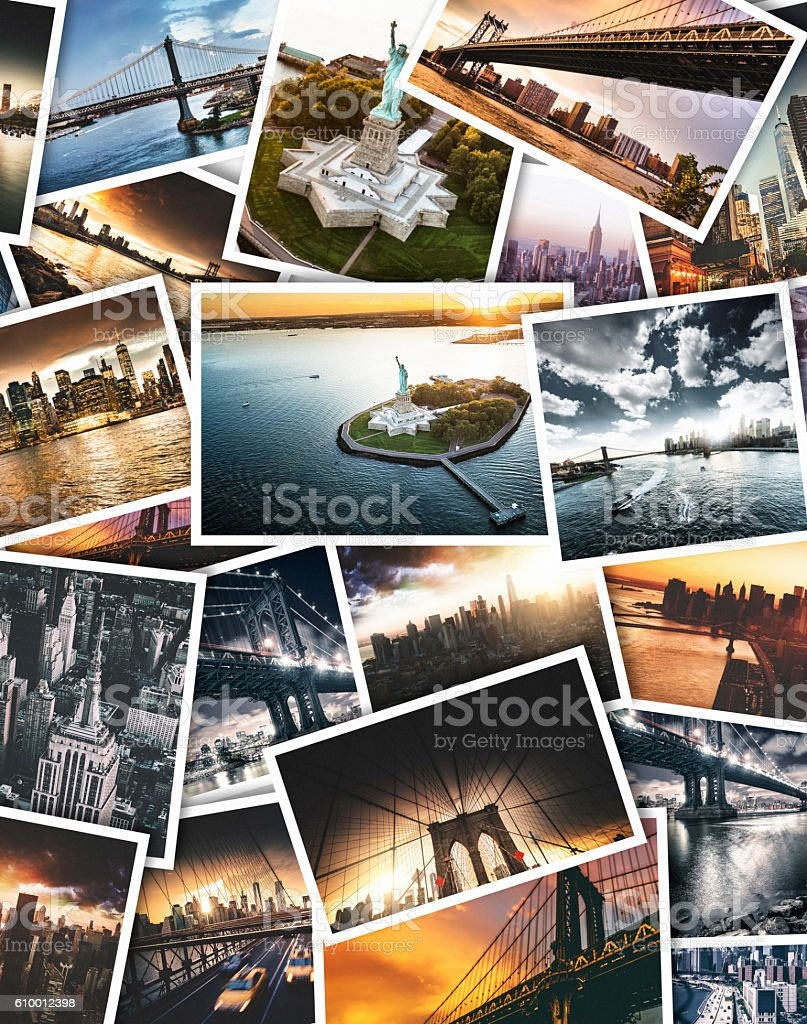 nyc travel images on polaroid paper stock photo