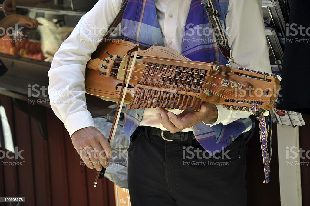 Nyckelharpa-Musician stock photo