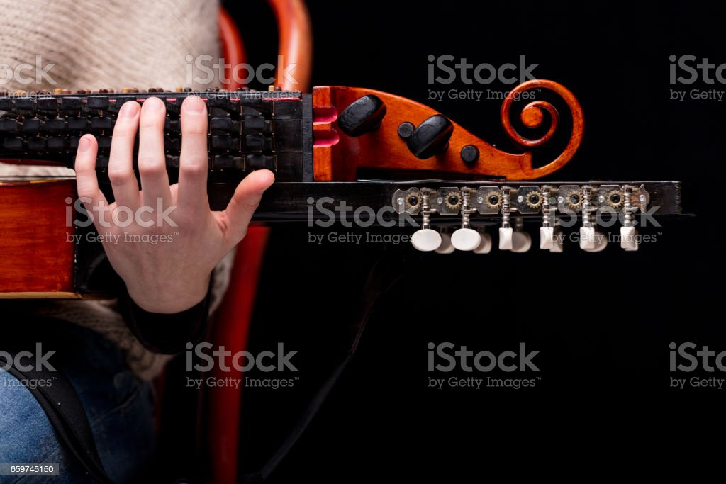 nyckelharpa's scroll, headstock and pegbox details stock photo