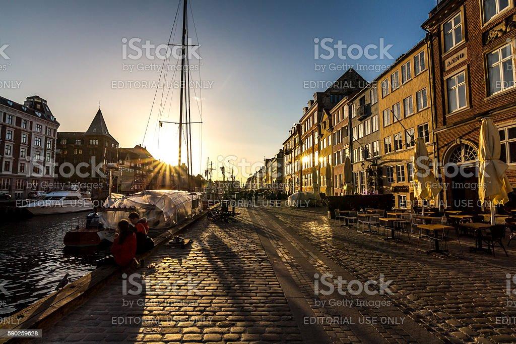 Nyhavn Canal in Copenhagen, Demark stock photo