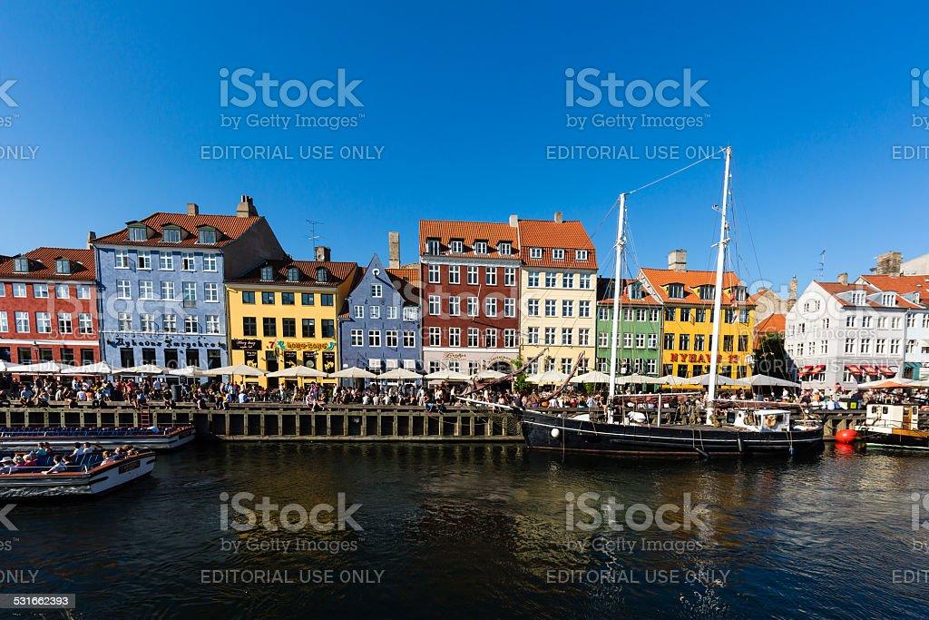 Nyhavn district in Copenhagen stock photo