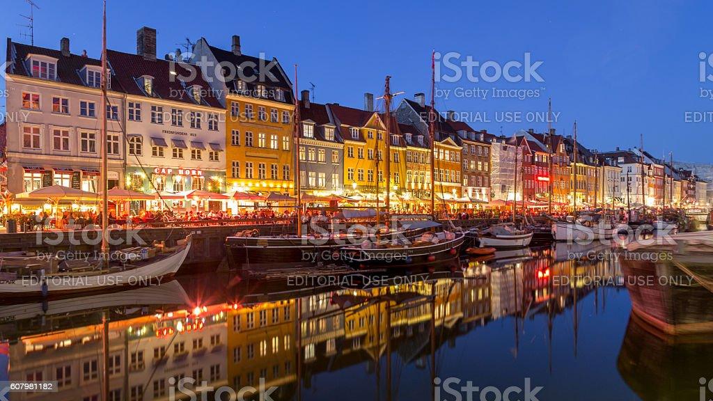 Nyhavn harbor in Copenhagen, Denmark stock photo