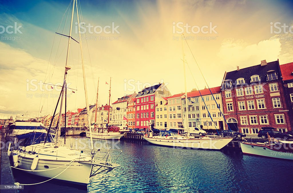 Nyhavn harbour in Copenhagen at during the sunrise royalty-free stock photo