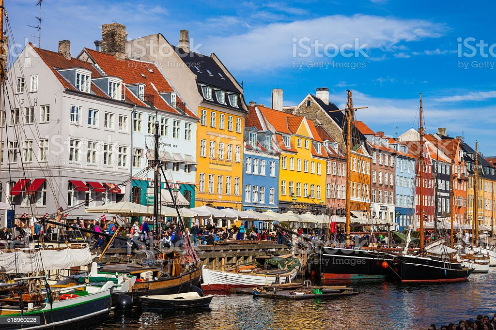 Nyhavn historic Copenhagen harbor stock photo
