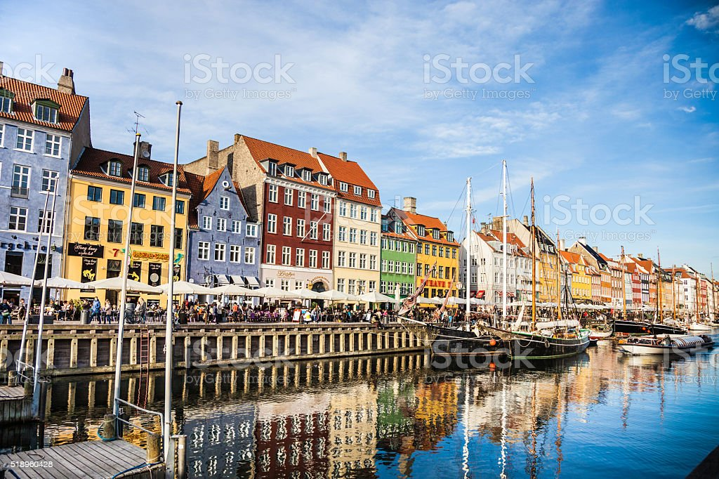 Nyhavn historic Copenhagen harbor stock photo
