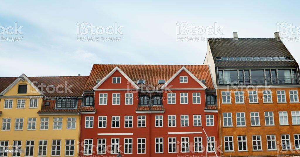 Nyhavn multicolored house facade in Copenhagen - Hans Christian Andersen royalty-free stock photo