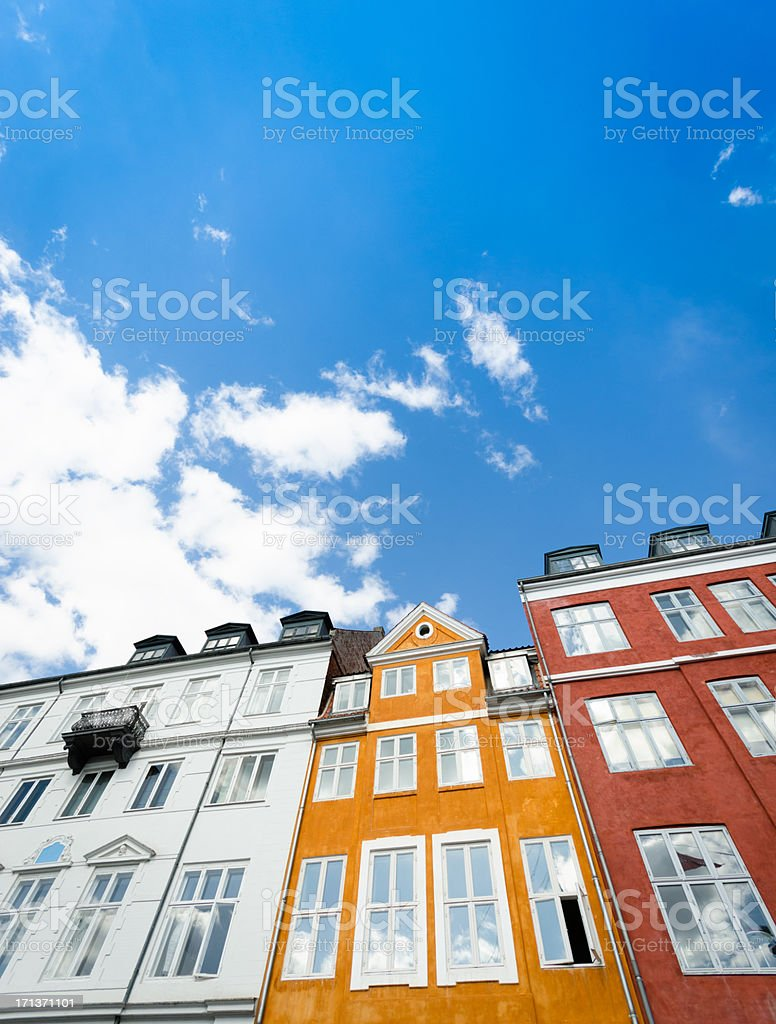 Nyhavn multicolored house facade in Copenhagen royalty-free stock photo