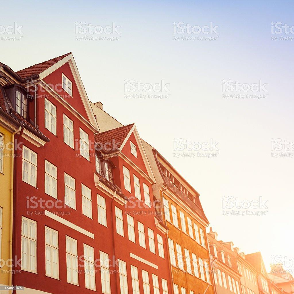 Nyhavn multicolored house facade in Copenhagen stock photo